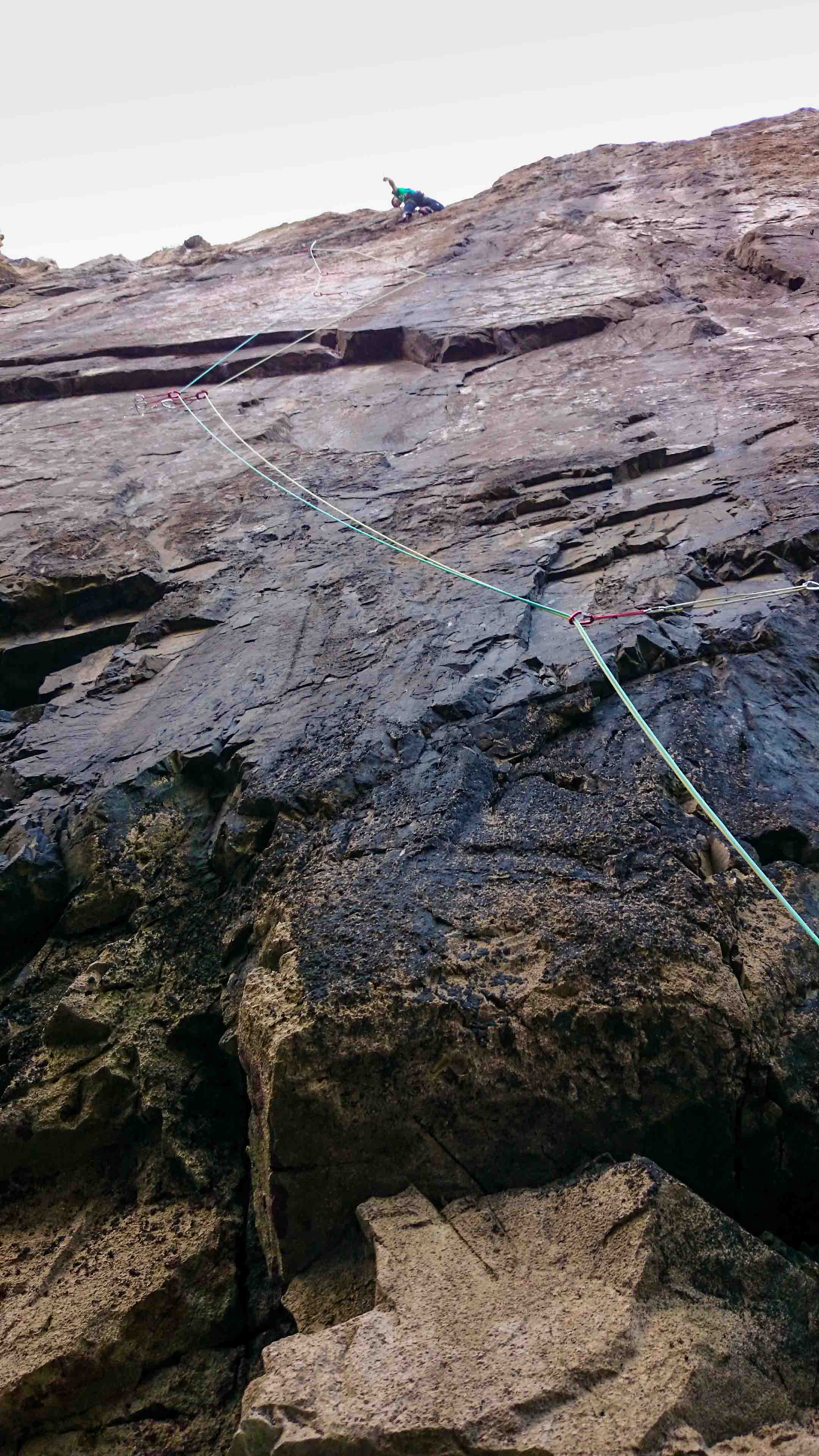 I sneaked a picture while belaying James, once he had stuck the crux