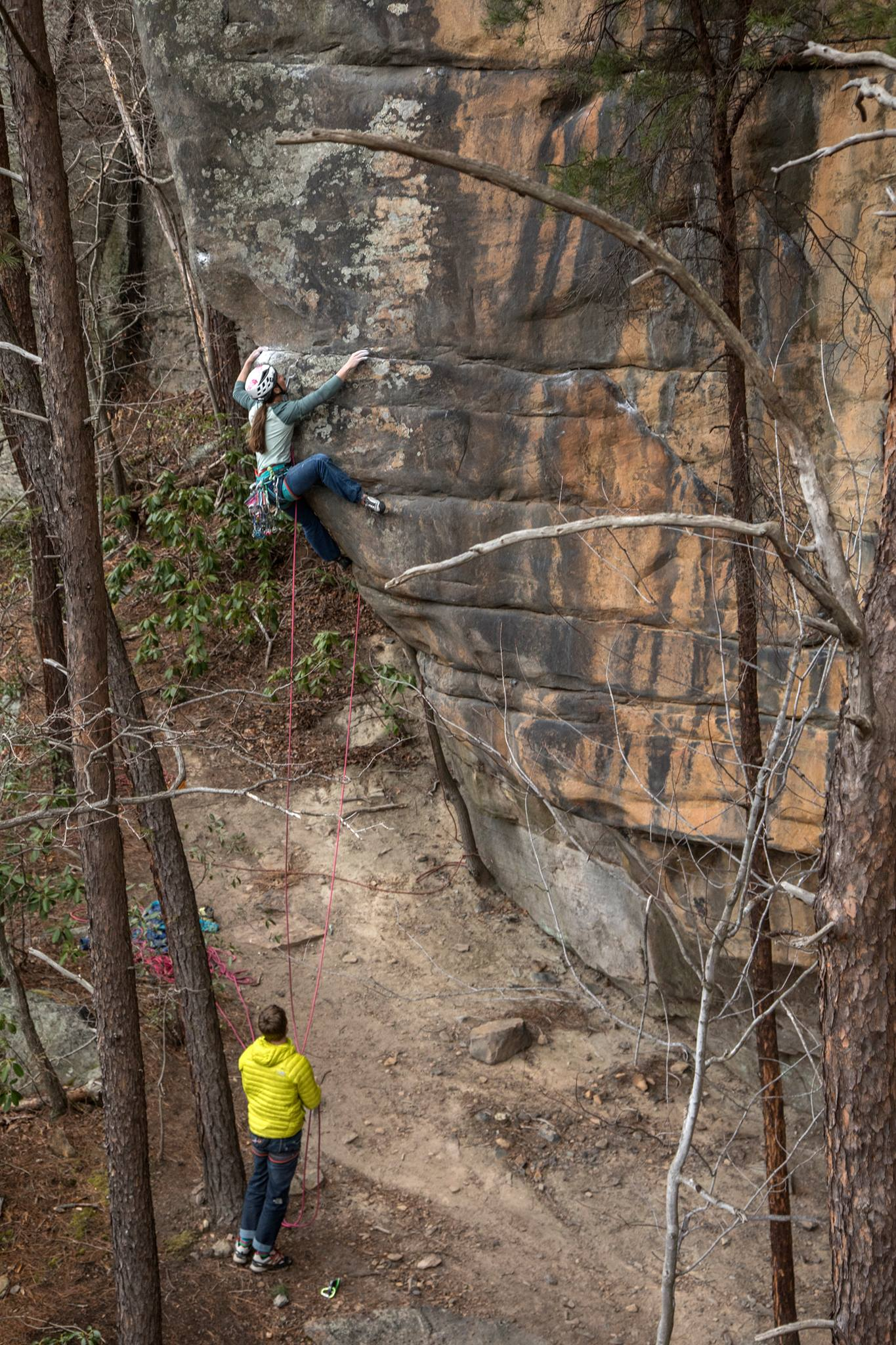 Caro doing a great little 5.13a in Fern Buttress, New river Gorge