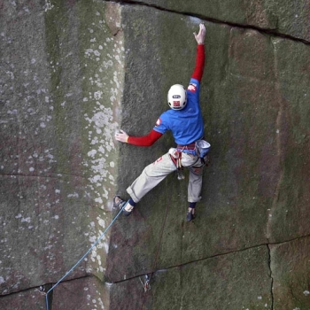 The Groove (E10 7b) Cratcliffe. James Pearson on first ascent.
