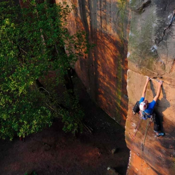 James Pearson onsighting My Piano (E8 6c) at Nesscliffe