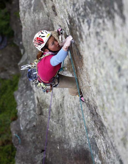 Caroline Ciavaldini attempting Strawberries (E7 6b) Tremadog Wales